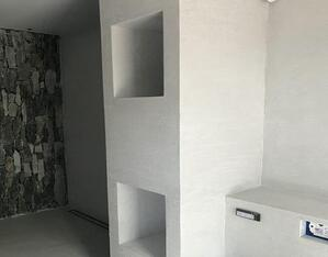 A bathroom with a white background Description automatically generated